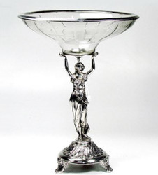 Casa Padrino Art Nouveau Bowl / Fruit Bowl Silver Ø 34 x H. 44 cm - Baroque & Art Nouveau Decoration Accessories