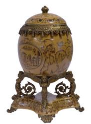 Casa Padrino baroque porcelain egg with lid multicolor / antique brass 20.5 x 15.4 x H. 28.3 cm - Magnificent Baroque Decoration Storage Box