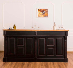 Casa Padrino Country Style Bar Counter Antique Black / Natural 220 x 65 x H. 107 cm - Bar Counter with Drawers and Storage Compartments