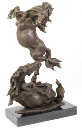 Casa Padrino luxury bronze sculpture fighting horses bronze / black 33 x 14.3 x H. 51 cm - Deco Bronze Figure with Marble Base