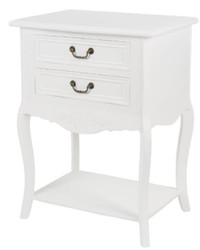 Casa Padrino Country Style Shabby Chic Side Table with 2 Drawers Antique White 55 x 40 x H. 73 cm - Country Style Furniture