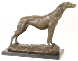 Casa Padrino luxury bronze figure greyhound with marble base bronze / gold / black H. 24.5 cm - Luxury Decoration Figure