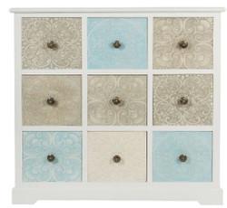 Casa Padrino Landhausstil Kommode mit 9 Schubladen Weiß / Mehrfarbig 100 x 40 x H. 92 cm - Landhausstil Möbel
