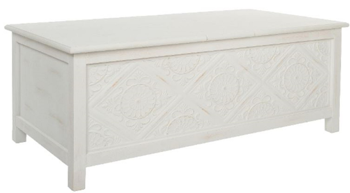 Casa Padrino Country Style Coffee Table Chest Antique White 115 X 60 X H 45 Cm Handmade Coffee Table With Storage Space