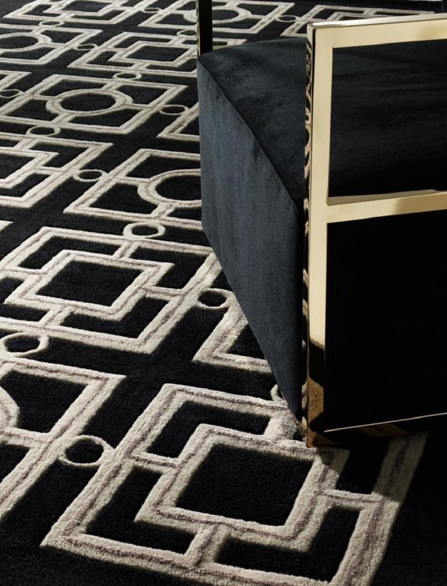Casa Padrino Luxus Hotel Teppich Schwarz Taupe Verschiedene