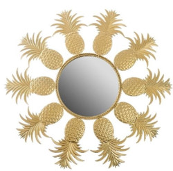 Casa Padrino designer mirror / wall mirror in pineapple design gold Ø 50 cm - Designer Furniture