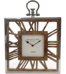 Casa Padrino luxury table clock / wall clock in the design of an antique pocket watch silver natural 30 x 5 x H. 40 cm - Decorative Clock with a Dial of Untreated Wood