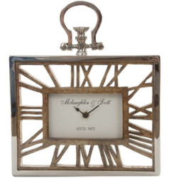 Casa Padrino luxury table clock / wall clock in the design of an antique pocket watch silver natural 25 x 5 x H. 30 cm - Decorative Clock with a Dial of Untreated Wood