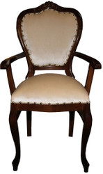 Casa Padrino Baroque Luxury Ladies Chair with Armrests Brown / cream - Ladies Dressing Table Chair - Limited Edition