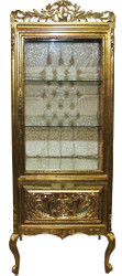 Casa Padrino Baroque Display Cabinet Gold / Gold - Display Cabinet - Living Room Cabinet Glass Cabinet - Antique Look