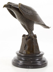 Casa Padrino Designer Eagle Sculpture Bronze / Black 21.1 x 12.1 x H. 20.6 cm - Luxury Bronze Figure
