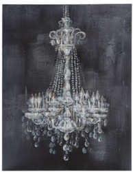 Casa Padrino Baroque Oil Painting Chandelier Gray / White 100 x H. 150 cm - Magnificent Oil Painting