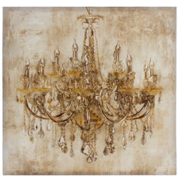 Casa Padrino Baroque Oil Painting Chandelier Multicolor 80 x H. 80 cm - Magnificent Oil Painting