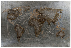 Casa Padrino luxury metal oil painting world map multicolor 120 x 5 x H. 80 cm - Oil Painting with 3D Effect