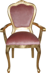 Casa Padrino Baroque Luxury Ladies Chair with Armrests Pink / Gold - Ladies Dressing Table Chair - Limited Edition