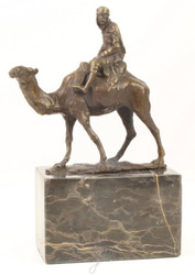 Casa Padrino luxury bronze sculpture camel with rider bronze / gold / multicolor 14 x H. 21.5 cm - Deco Bronze Figure with Artificial Stone Base