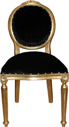 Casa Padrino Baroque medallion luxury dining chair without armrests in black / gold - Limited Edition