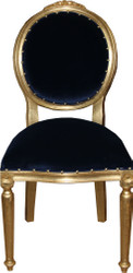 Casa Padrino Baroque medallion luxury dining chair without armrests in royal blue / gold - Limited Edition