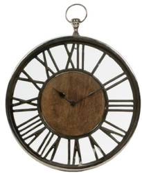 Casa Padrino luxury wall clock in the design of an antique pocket watch silver / natural Ø 45 cm - Decorative Round Clock with a Clock Face from Untreated Wood