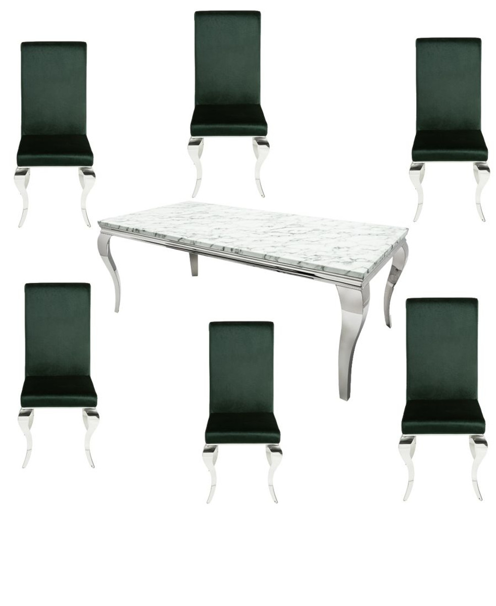 Casa Padrino Designer Esszimmer Set Edelgrün Silber Weiss