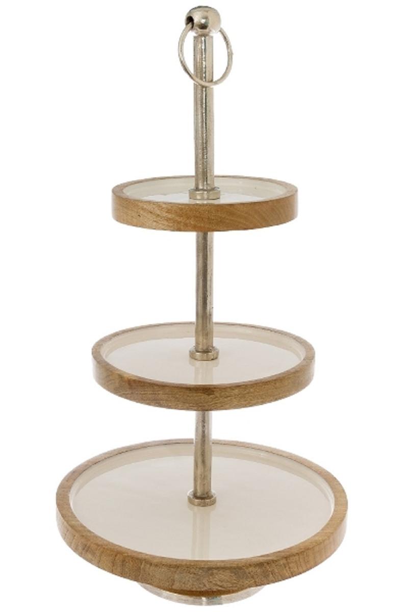 casa padrino luxus etagere silber wei naturfarben 30 x h 57 cm dekorative kleine runde. Black Bedroom Furniture Sets. Home Design Ideas
