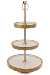 Casa Padrino Luxus Etagere Silber / Weiß / Naturfarben Ø 30 x H. 57 cm - Dekorative kleine runde 3-Stufige Servierschale mit Tragegriff