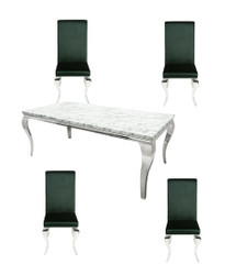 Casa Padrino designer dining set noble green / silver / white - dining table 180 cm + 4 chairs - Modern Baroque