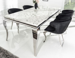 Casa Padrino Designer Dining Set Black / Silver / White - Dining table 200 cm + 6 chairs - Modern Baroque