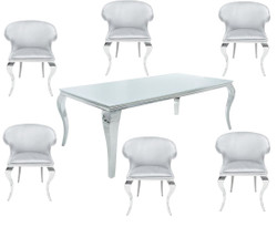 Casa Padrino Designer Dining Set Silver / White - Dining Table 180 cm + 6 Chairs - Modern Baroque