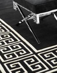 Casa Padrino Luxury Wool Carpet Black / White - Various Sizes - Hand Tufted Luxury Carpet from New Zealand Wool