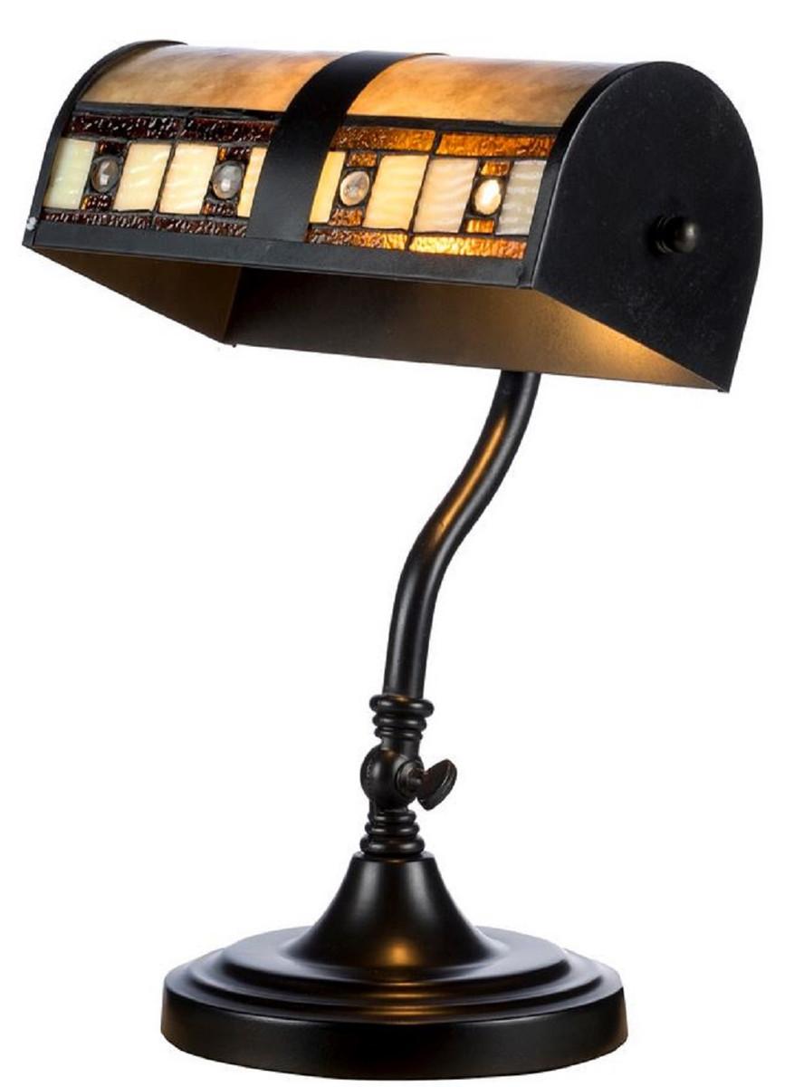 Casa Padrino Luxury Tiffany Desk Lamp Black Multicolor 25