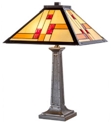 Casa Padrino Luxury Tiffany Table Lamp Black / Multicolor 40 x 40 x H. 60 cm - Handmade From 64 Parts