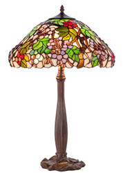 Casa Padrino Luxury Tiffany Table Lamp Brown / Multicolor Ø 40 x H. 62 cm - Decorative Lamp Made of 729 Pieces Handmade