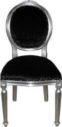 Casa Padrino Baroque medallion luxury dining chair without armrests in black / silver - Limited Edition