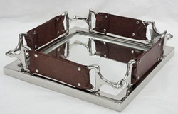 Casa Padrino Luxury Serving Tray Silver / Brown 38 x 38 cm - Hotel & Restaurant Accessoires