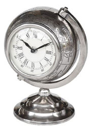 Casa Padrino luxury table clock globe silver H. 23 cm - Luxury Decoration