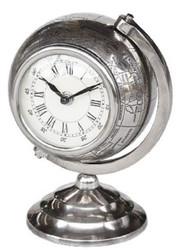 Casa Padrino Luxus Tischuhr Weltkugel Silber H. 23 cm - Luxus Dekoration