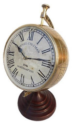 Casa Padrino luxury table clock globe brass 30 x 26 x H. 42 cm - Luxury Decoration