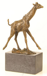 Casa Padrino Luxury Bronze Sculpture Giraffe Bronze / Gold / Gray 18 x 7.4 x H. 25.9 cm - Bronze Figure