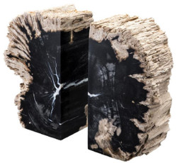 Casa Padrino luxury bookend set of petrified wood black / natural 11 x 8 x H. 20 cm - Luxury Collection