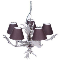 Casa Padrino luxury chandelier antler silver / purple Ø 59 x H. 39 cm - Luxury Furniture