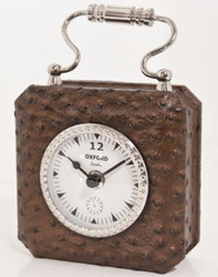 Casa Padrino Luxury Table Clock Brown / Silver 7.5 x H. 7.5 cm - Decorative Clock in Handbag Design