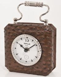 Casa Padrino Luxus Tischuhr Braun / Silber 7,5 x H. 7,5 cm - Dekorative Uhr im Handtaschen Design