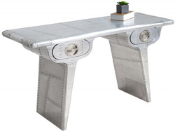 Casa Padrino Art Deco Aluminum Table - Airplane / Aviator Furniture Desk Mod1