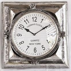 Casa Padrino Luxus Wanduhr Silber 40 x 9 x H. 41 cm - Dekorative Uhr aus Aluminium