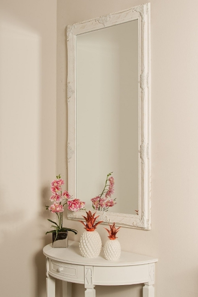 casa padrino barock wandspiegel wei gold 72 x h 132 cm handgefertigter barock spiegel mit. Black Bedroom Furniture Sets. Home Design Ideas