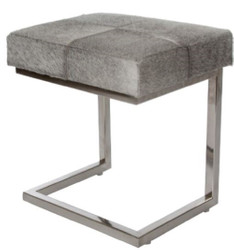 Casa Padrino luxury art fur stool in patchwork look gray / silver 45 x 33 x H. 40 cm - Luxury Furniture
