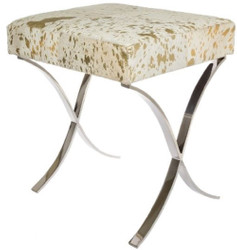 Casa Padrino luxury art fur stool white / gold / silver 40 x 33 x H. 45 cm - Luxury Furniture