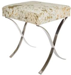 Casa Padrino designer art fur stool white / gold / silver 40 x 33 x H. 45 cm - Designer Furniture