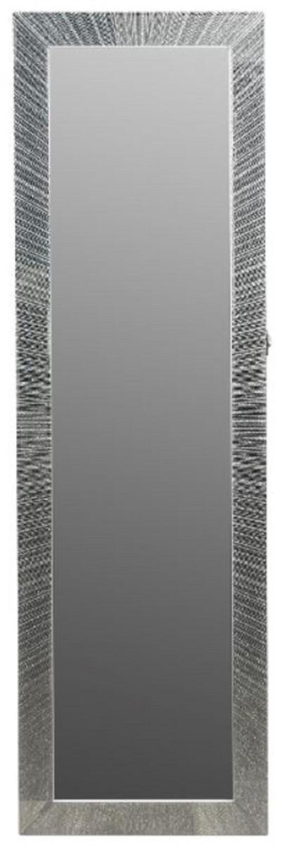 Casa Padrino Luxus Schmuckschrank mit Spiegeltür & Glitteroptik Silber / Weiß 36 x 9 x H. 120 cm - Luxus Kollektion 1